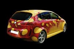 Gelbes Auto, das hintere Ansicht tunning ist Lizenzfreie Stockbilder