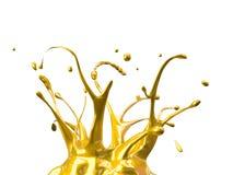 Gelbes Autofarbenspritzen widergespiegelt auf weißem Hintergrund lizenzfreie abbildung