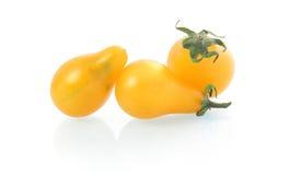 Gelbes birnenförmiges Tomategemüse getrennt Lizenzfreies Stockbild
