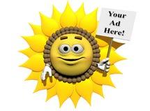 Gelbes Blumen-Zeichen Stockfoto
