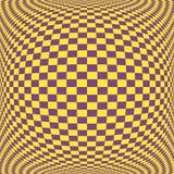 Gelbes Bodenmuster auf purpurrotem Quadrat auf Konvexität Lizenzfreies Stockfoto