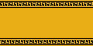 Gelbes Brett mit schwarzer ethno Verzierung, Vektorgrenzgelbes und schwarzes griechisches Muster, Hintergrund für Warnungsanzeige stockfotos
