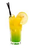 Gelbes Cocktail mit Orange und Eis Stockbilder