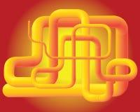 Gelbes Design des Rohrs 3D lizenzfreie abbildung