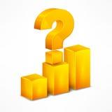 Gelbes Diagramm mit Fragezeichen auf Weiß Stockfotografie