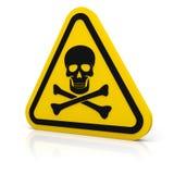 Gelbes Dreieck, das tödliches Zeichen warnt Stockbilder