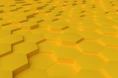 Gelbes einfarbiges Hexagon deckt abstrakten Hintergrund mit Ziegeln Lizenzfreies Stockbild