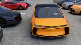 Gelbes Elektroauto zurück zu Parkplatz ohne Fahrer in ihm lizenzfreie abbildung