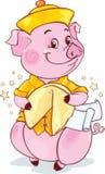 Gelbes erdiges Schwein mit Glückskeks für das neue Jahr 2019 schnitt stockfotografie