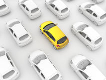 Gelbes Fahrerhaus im Verkehr Lizenzfreies Stockbild