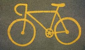 Gelbes Fahrradzeichen Lizenzfreie Stockfotos