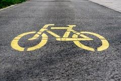 Gelbes Fahrradzeichen Lizenzfreies Stockbild