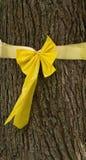 Gelbes Farbband gebunden um Baum Stockfoto