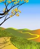 Gelbes Feld, einsamer Baum, bewölkter blauer Himmel vektor abbildung