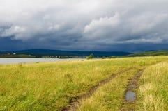 Gelbes Feld nahe See nach einem Regen Stockfotos