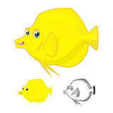 Gelbes flaches Design und Linie Art Version Tang Fish Cartoon Character Includes der hohen Qualität Stockfotos