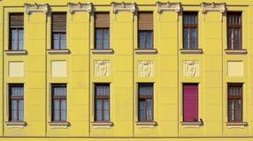 Gelbes Gebäudegesicht mit Fenstern stockbild