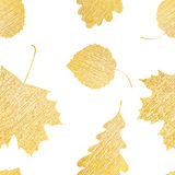 Gelbes Gekritzel verlässt nahtloses Muster Lizenzfreies Stockfoto