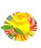 Gelbes Gelee und Erdbeere Stockfoto