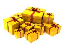 Gelbes Geschenk Stockfotos