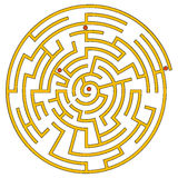 Gelbes gewundenes Labyrinth Stockbild