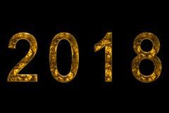 Gelbes Gold metallische 2018 der Weinlese fassen Text mit Lichtreflex an ab Stockbilder