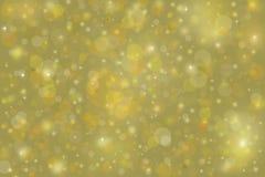 Gelbes Goldblasenhintergrund mit Weihnachtslichtern Lizenzfreie Stockfotografie