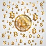 Gelbes Goldmuster Bitcoin Stockbilder