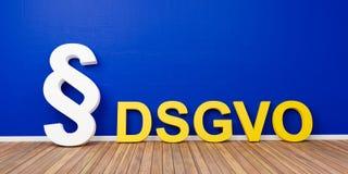 Gelbes grundlegende Daten-Schutz-vorgeschriebenes Konzept DSGVO mit weißem Paragraphsymbol auf blauer Wand - Wiedergabe 3D Stockfoto