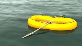 Gelbes Gummibootsschwimmen einsam auf einem beträchtlichen grünen Ozean Lizenzfreie Stockfotos