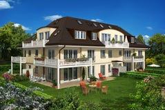 Gelbes Haus im Garten vektor abbildung
