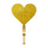 Gelbes Herz geformter Reißverschluss Lizenzfreie Stockfotos