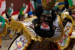 Gelbes Kostüm von Kapitän während des bolivianischen Karnevals Lizenzfreies Stockbild