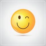 Gelbes lächelndes Karikatur-Gesicht, das Leute-Gefühl-Ikone blinzelt stock abbildung