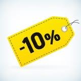 Gelbes Leder führte Preisschilds des Geschäftsverkaufs -10% einzeln auf Stockbild