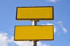 Gelbes leeres Zeichen Lizenzfreie Stockfotografie