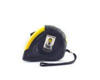 Gelbes Maßband- oder Stahlband lokalisierte weißen Hintergrund Stockfoto