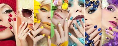 Gelbes Make-up und eine französische Maniküre stockbild