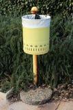 Gelbes Metallabfalleimer auf verrostetem Pfosten vor überwucherter Hecke stockfotos