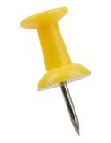 Gelbes Metallstift mit einer Nadel lokalisiert auf Weiß Lizenzfreie Stockfotografie