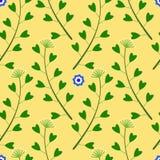 Gelbes Muster mit Blumen, Gras Stockfotos