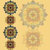 Gelbes Muster mit Mandalen Stockfotografie