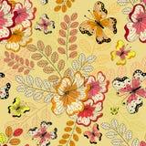 Gelbes nahtloses Blumenmuster Lizenzfreies Stockbild