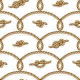 Gelbes nautischseil gesponnen, nahtloses Muster, Hintergrund lizenzfreie abbildung