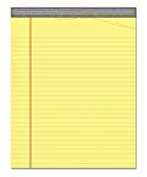 Gelbes Notizblockanmerkungspapier   Stockfoto