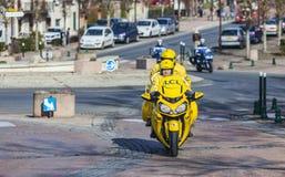 Gelbes offizielles Fahrrad Stockfotos
