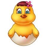 Gelbes Ostern-Huhn in Eierschale Lizenzfreie Stockfotos