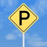 Gelbes Parkenzeichen Lizenzfreie Stockbilder