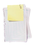 Gelbes Protokoll mit Papierklammer Stockfotos