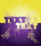 Gelbes purpurrotes Fahrwerk am Boden kurvt Text Stockfoto